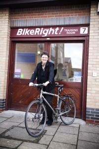 Liz Clarke and bicycle